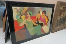 """VINTAGE SIGNED CONTEMPORARY NEW ORLEANS MIXED MEDIA WALL ART PAINTING 24"""" X 32"""""""