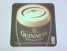 GUINNESS  EXTRA COLD Beermat / Coaster 2 sided Rugby Team Effort 1999 world cup
