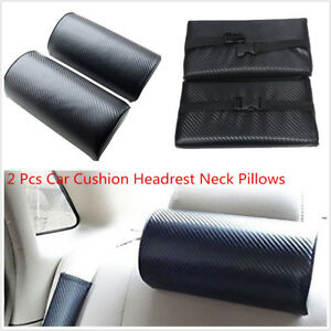 2 Pcs Carbon Fiber Embroidery Surface Car Rest Cushion Seat Headrest Neck Pillow