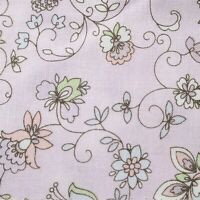 Cotton Sm Dainty Flowers & Swirls Lt Lavender Background Quilt Quality Fabric