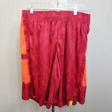 TEK GEAR Mens Basketball Shorts Red Orange Below Knee Sz M Polyester