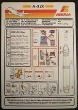 IBERIA spanish airways A 320 SAFETY CARD airline leaflet sc652 ax