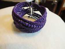 Beautiful Collectible Wrap Cuff Bracelet Purple Beads 1 1/2 Inch Wide NICE