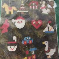 Bucilla Plastic Canvas Christmas Ornaments Kit Set of 12  #6523 NEW Vintage