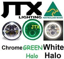 "7"" Chrome Headlights GREEN &WHITE Halo Chevrolet Chev Chevy Bel-Air C10 C20 C30"