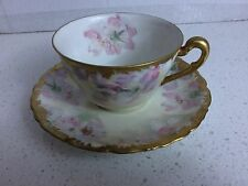 T & V Limoge Cup-Saucer Hand Painted Apple Blossoms Gold Encrusted Trim