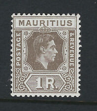 MAURITIUS: 1942 1 rupee grey-brown ordinary paper  SG 260b MNH