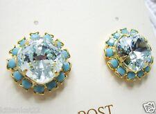 New Liz Palacios 14K GP Turquoise & Erinite Color Crystal Surround Post Earrings