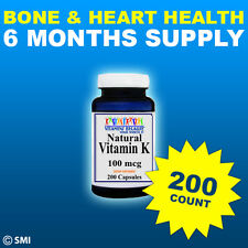 VITAMIN K-1 100mcg  HEALTHY BLOOD & BONES 200 Capsules 6 Month Supply Made USA