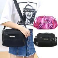 Women Fashion Crossbody Bag Nylon Zipper Wide Shoulder Strap Messenger Bags