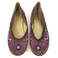 Newport News Womens 7.5 Brown Purple Pink Floral Boho Beaded Slip On Shoe NWOT