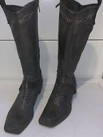 BERNARDO Womens Gray Distressed Leather Western Boots Harness Square Toe Sz 7.5B