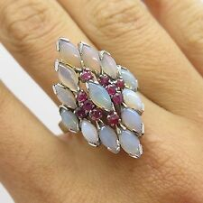 Atq 925 Sterling Silver Real Ruby Moonstone Gem Handmade Women's Ring Size 7 3/4