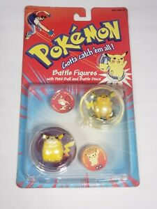 Vintage 1999 Hasbro Pokemon Battle Figures, Discs- Pikachu and Raichu Sealed