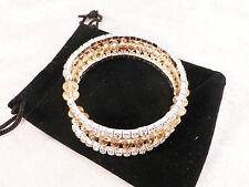 Crystal Rhinestone & Yellow Beads Wraparound Stretch Bracelet + Free Gift Bag