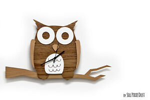 Owl sitting on twig - Wooden and Acrylic Wall Clock - Kids Nursery Room