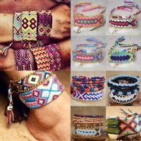 Boho Ethnic Handmade Multicolor String Cord Braided Friendship Charm Bracelet