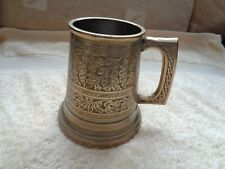 vintage brass  India engraved with leaf's  tankard glass bottom