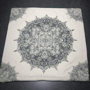 """Pottery Barn Erica Medallion Pillow Cover Charcoal Gray 24"""" Square"""