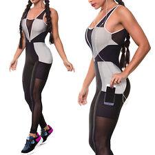 Women Sports Gym Yoga Workout Leggings Fitness Leotards Athletic Pant Jumpsuit M
