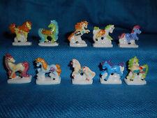 PONIES & UNICORNS Set of 10 Mini Figurines FRENCH Porcelain FEVES Figures Horses