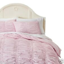 Simply Shabby Chic 2 Pc Twin Duvet Set W/ Sham Pink Textured Smocked Ruched New