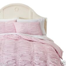 SHABBY CHIC 2 PIECE TWIN DUVET SET WITH SHAM PINK TEXTURED SMOCKED RUCHED NWT