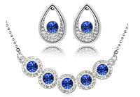 Silver & Dark Royal Blue Teardrop Jewellery Set Stud Earrings & Necklace S714