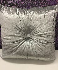 New silver crushed velvet cushion square size with centre diamonte