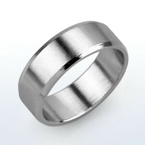 STAINLESS STEEL MATTE CENTRE / HIGH POLISHED BEVELLED EDGE 8mm WEDDING BAND