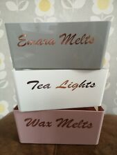 Wax Melts Tea Lights Storage Boxes Grey Pink Rose Gold Lettering