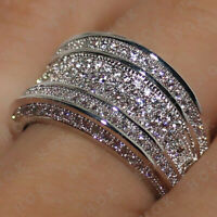 Wedding Band Ring For Women 2Ct Round Cut Diamond Real Solid 10k White Gold