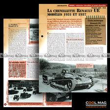 #vm004.05 ★ CHENILLETTE RENAULT UE MODELES 1931, 1937 ★ Fiche Véhicule Militaire
