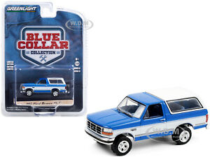 1992 FORD BRONCO XLT BLUE & WHITE 1/64 DIECAST MODEL CAR BY GREENLIGHT 35180 F