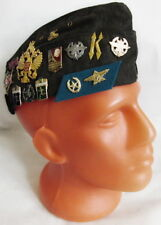 Russian Army Pilotka Garrison Cap Hat with Real USSR Badges, Dark Grey 57 M