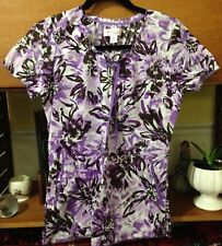 Koi Scrub Top Purple Design Style 129PR Size XS