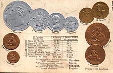 Spanien, Münzen, Prägekarte mit Umrechnungstabelle, um 1910