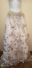 Sequin Tulle White Silver Lace Bellydance Maxi Ballgown Skirt Party Dress Bridal