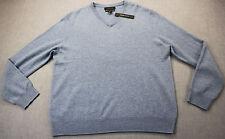 TAHARI Mens Lite Blue Pure Luxe Super Soft 100% Cashmere V-NECK Sweater  NWT  XL