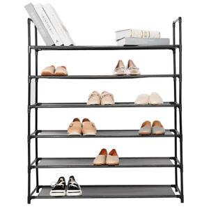 6-Tier 36 Pairs Shoe Rack Free Standing Space Saving Storage Shoe Shelf