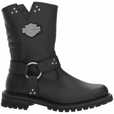 Harley Davidson Barford Black Womens Leather Zip-up Riding Biker Boots