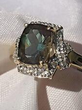 14kt Two Tone 1.8ct Labradorite & Diamond Ring Size 7.5