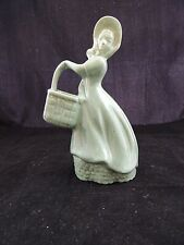 RARE Vintage Haeger Pottery Green Girl with basket 1940s