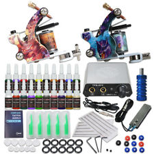 Beginner Tattoo Kit 2 Machine Gun 20 color Inks Power supply needles Grip Tip E