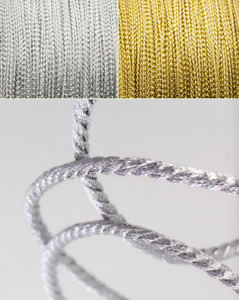 2mm Metallic Cord Twisted Braid Braided Rope Gold & Silver Soutache Jewellery