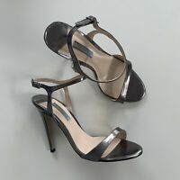 TONY BIANCO Silver Gunmetal Open Toe Stiletto Leather Strappy Heels Shoes 7.5