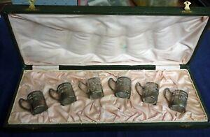 Silber, Jugendstil Set von 6 Weinbechern in einer Schachtel           (Art.4449)