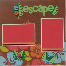 """12X12 """"ESCAPE"""" TROPICAL PREMADE SCRAPBOOK PAGE LAYOUT PAPER PIECINGS - TONYA"""