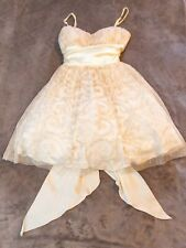Prom Cocktail Formal Dress B. Darlin Gold Ivory/White Tulle Sequins size 1/2
