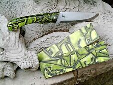 "KIRINITE: Toxic green 3/8"" 6""x1.5"" Scales for knife making woodworking Bushcraft"